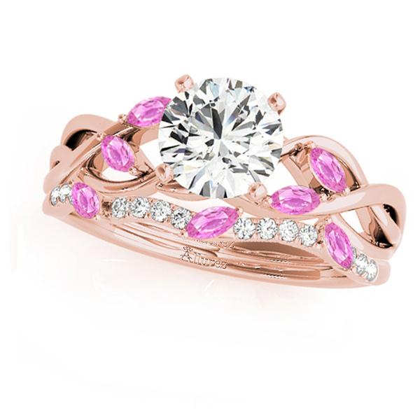 Twisted Round Pink Sapphires & Moissanites Bridal Sets 18k Rose Gold (1.73ct)
