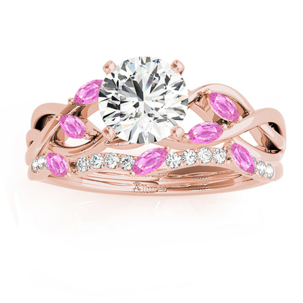Marquise Pink Sapphire & Diamond Bridal Set Setting 18k Rose Gold (0.43ct)