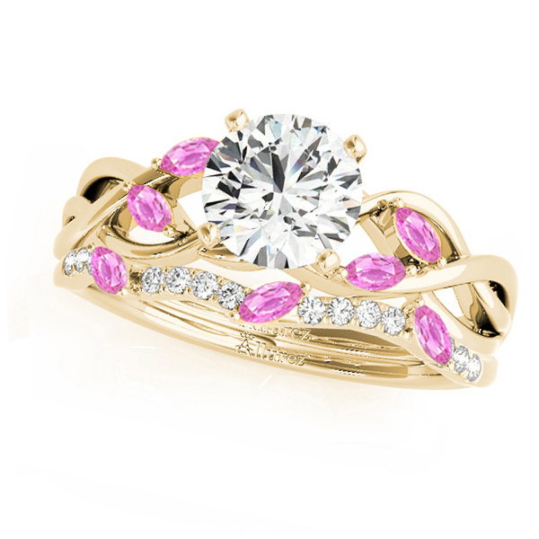 Twisted Round Pink Sapphires & Moissanites Bridal Sets 18k Yellow Gold (0.73ct)