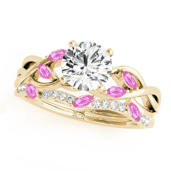 Twisted Round Pink Sapphires & Diamonds Bridal Sets 18k Yellow Gold (0.73ct)