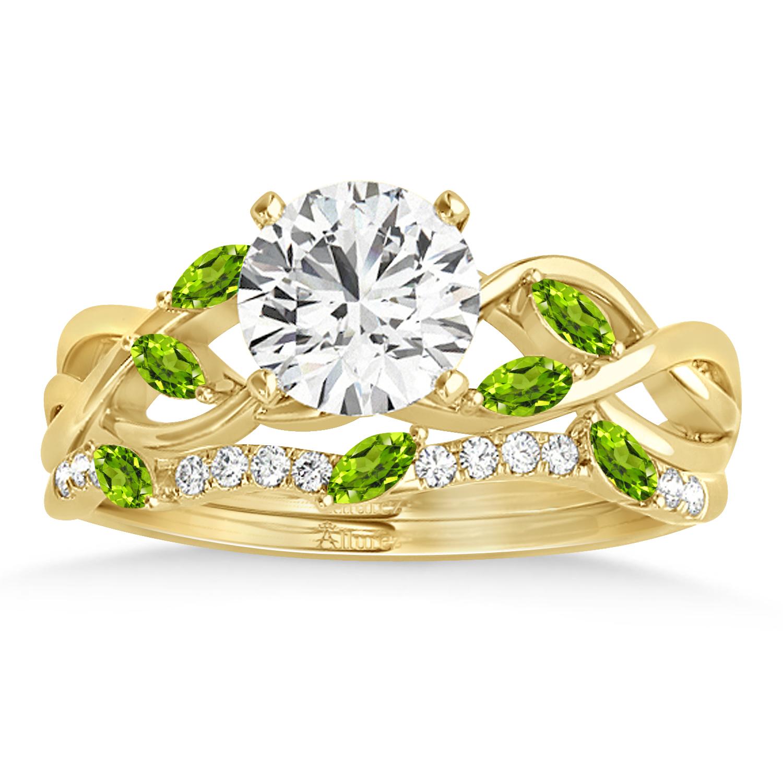 Marquise Peridot & Diamond Bridal Set Setting 18k Yellow Gold (0.43ct)