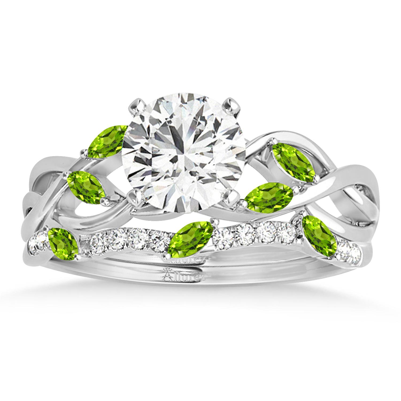 Marquise Peridot & Diamond Bridal Set Setting Palladium (0.43ct)