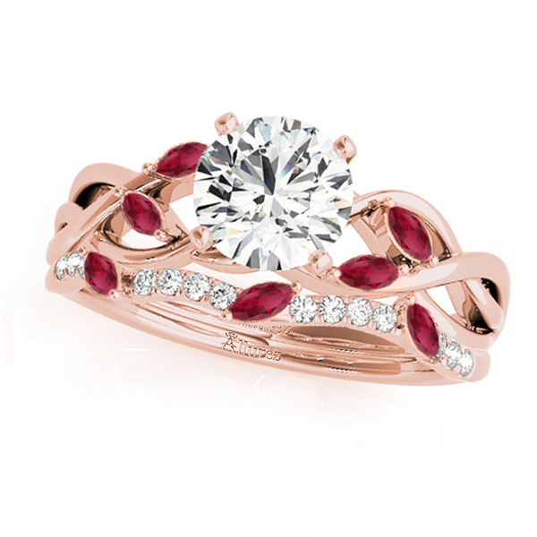 Twisted Round Rubies & Diamonds Bridal Sets 14k Rose Gold (1.23ct)