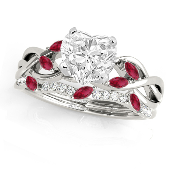 Twisted Heart Rubies & Diamonds Bridal Sets 14k White Gold (1.23ct)