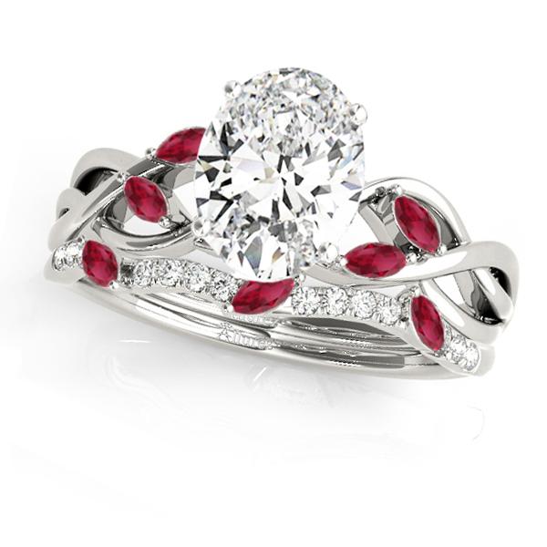 Twisted Oval Rubies & Diamonds Bridal Sets 14k White Gold (1.23ct)