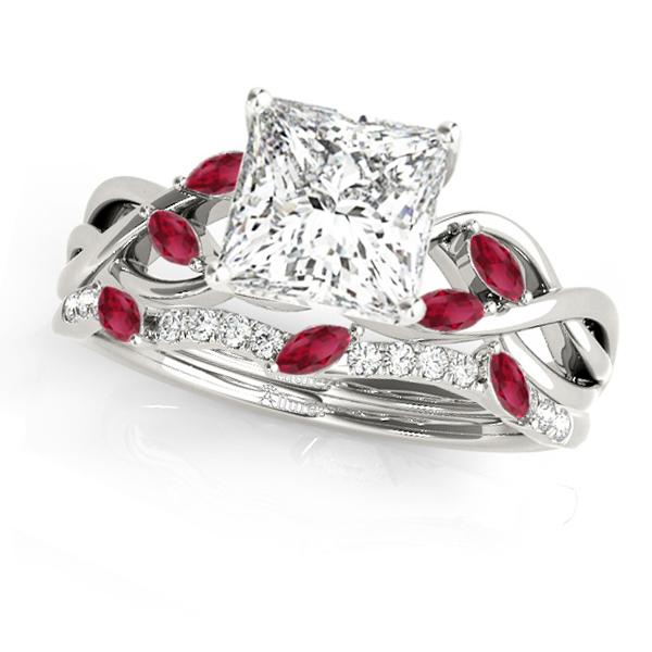 Twisted Princess Rubies & Diamonds Bridal Sets 14k White Gold (1.73ct)