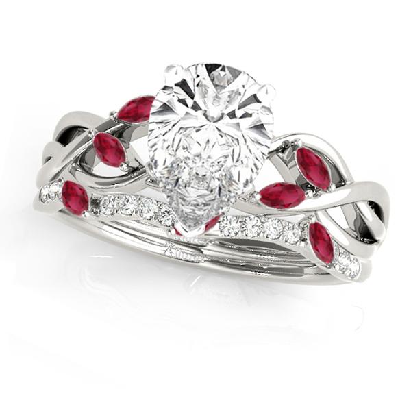 Twisted Pear Rubies & Diamonds Bridal Sets 14k White Gold (1.23ct)
