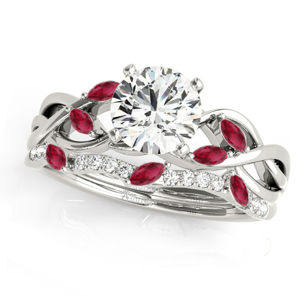 Twisted Round Rubies & Diamonds Bridal Sets 14k White Gold (1.23ct)