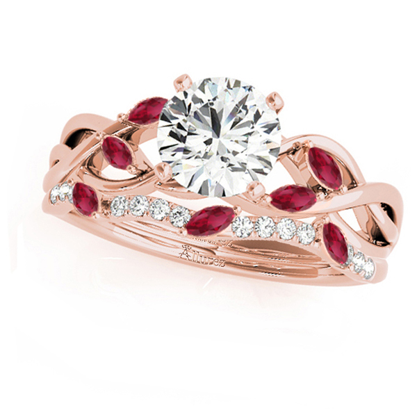 Twisted Round Rubies & Moissanites Bridal Sets 18k Rose Gold (0.73ct)
