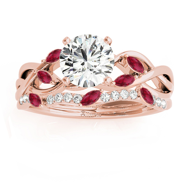 Marquise Ruby & Diamond Bridal Set Setting 18k Rose Gold (0.43ct)