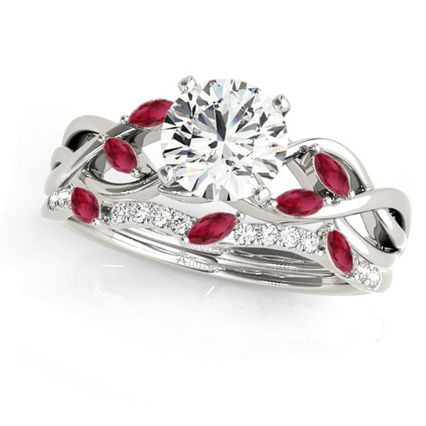 Twisted Round Rubies & Moissanites Bridal Sets 18k White Gold (0.73ct)