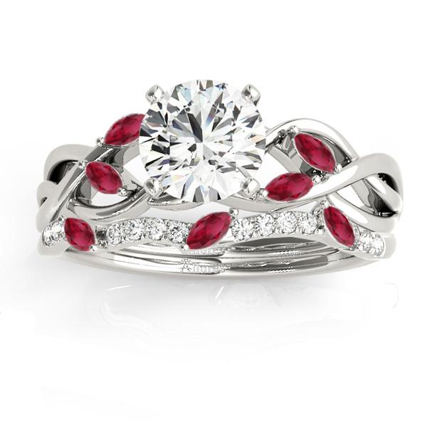 Marquise Ruby & Diamond Bridal Set Setting 18k White Gold (0.43ct)