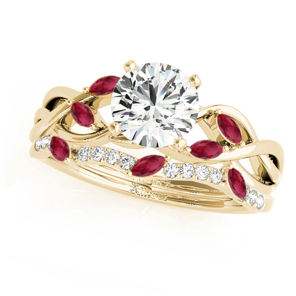 Twisted Round Rubies & Moissanites Bridal Sets 18k Yellow Gold (0.73ct)
