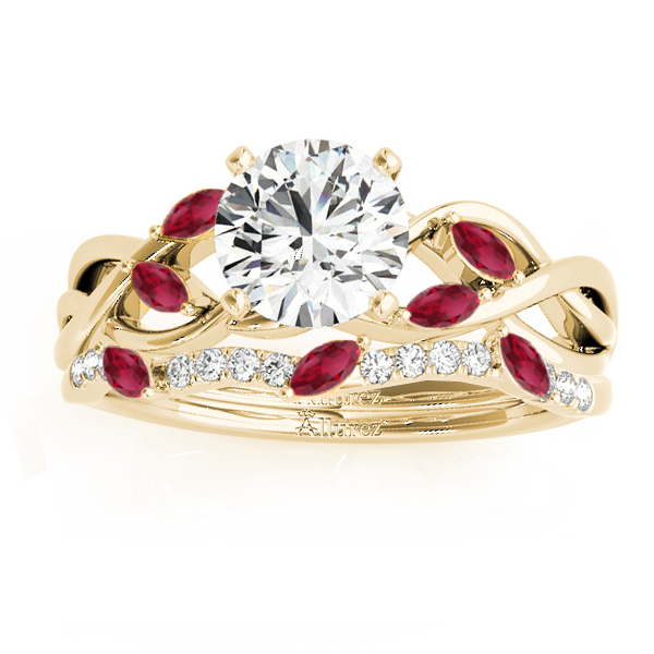 Marquise Ruby & Diamond Bridal Set Setting 18k Yellow Gold (0.43ct)