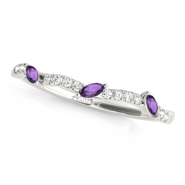 Marquise Amethyst & Diamond Wedding Band 14k White Gold (0.23ct)