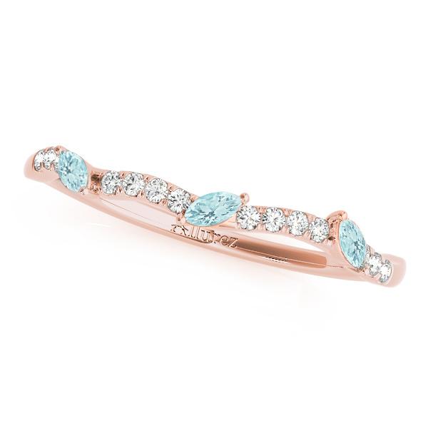 Marquise Aquamarine & Diamond Wedding Band 18k Rose Gold (0.23ct)