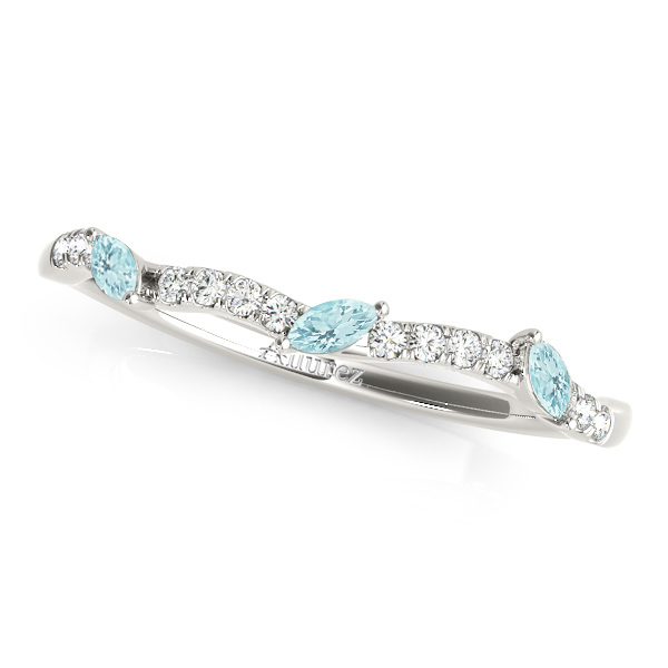 Marquise Aquamarine & Diamond Wedding Band Palladium (0.23ct)