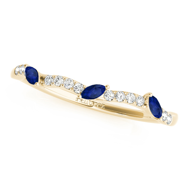 Marquise Blue Sapphire & Diamond Wedding Band 14k Yellow Gold (0.23ct)