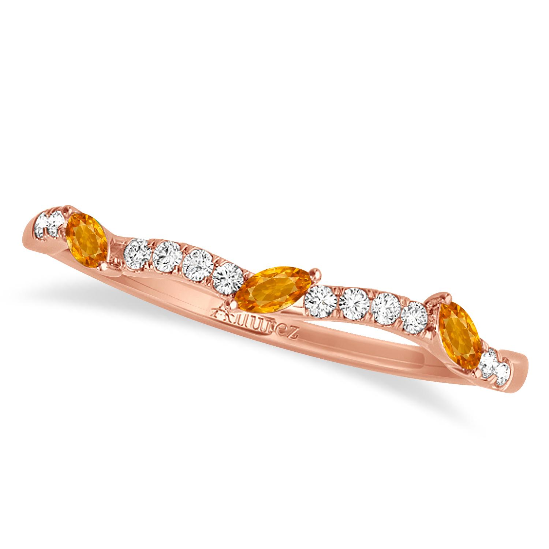 Marquise Citrine & Diamond Wedding Band 18k Rose Gold (0.23ct)