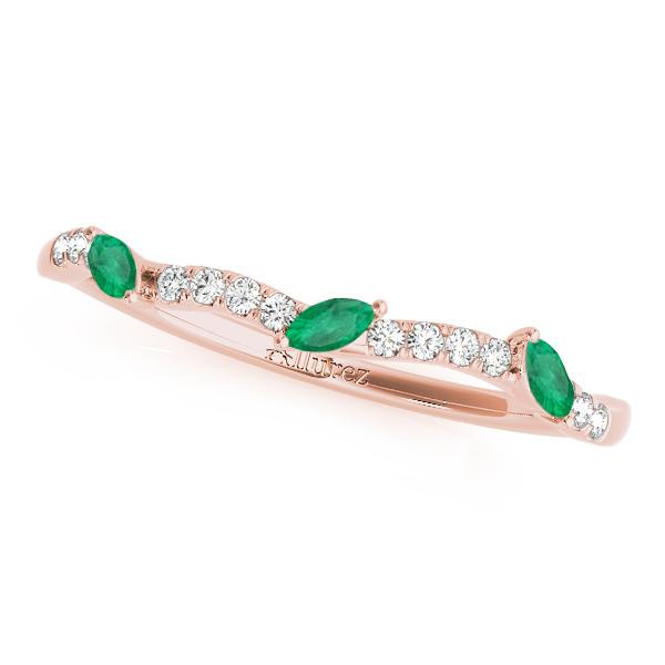 Marquise Emerald & Diamond Wedding Band 14k Rose Gold (0.23ct)