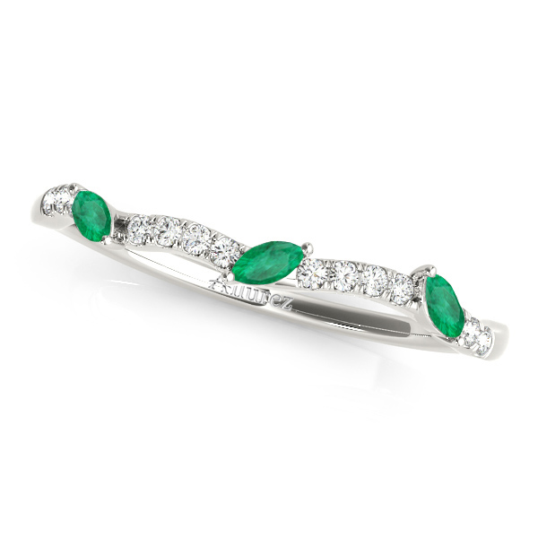 Marquise Emerald & Diamond Wedding Band 14k White Gold (0.23ct)