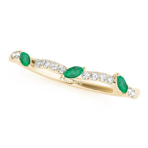 Marquise Emerald & Diamond Wedding Band 18k Yellow Gold (0.23ct)
