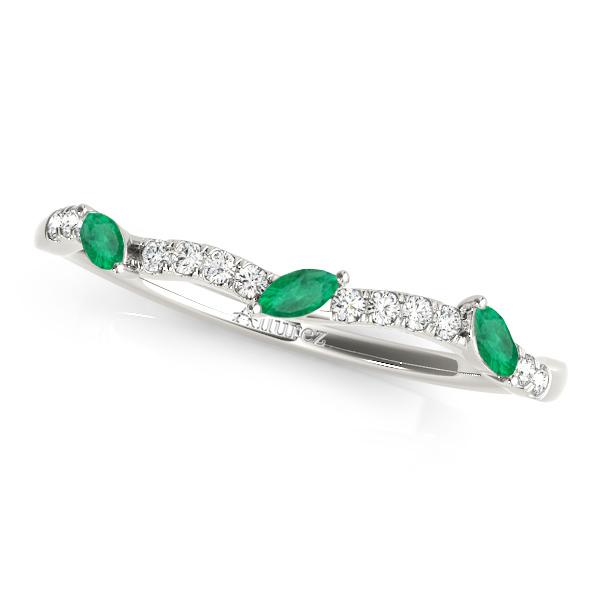 Marquise Emerald & Diamond Wedding Band Platinum (0.23ct)