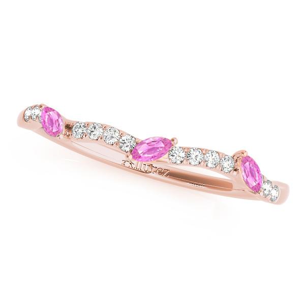 Marquise Pink Sapphire & Diamond Wedding Band 14k Rose Gold (0.23ct)