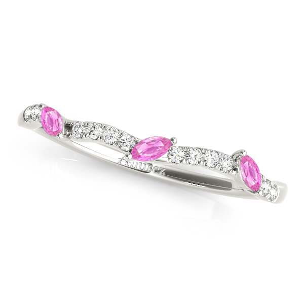 Marquise Pink Sapphire & Diamond Wedding Band 14k White Gold (0.23ct)