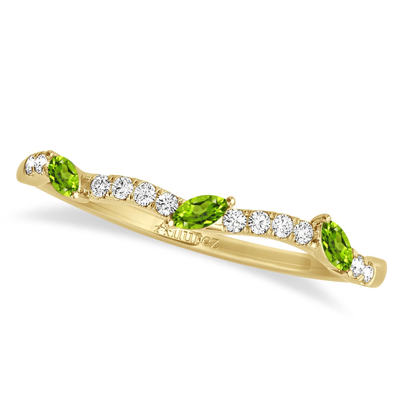 Marquise Peridot & Diamond Wedding Band 14k Yellow Gold (0.23ct)