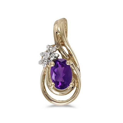 Oval Amethyst & Diamond Teardrop Pendant Necklace 14k Yellow Gold
