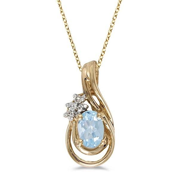 Oval Aquamarine & Diamond Teardrop Pendant Necklace 14k Yellow Gold