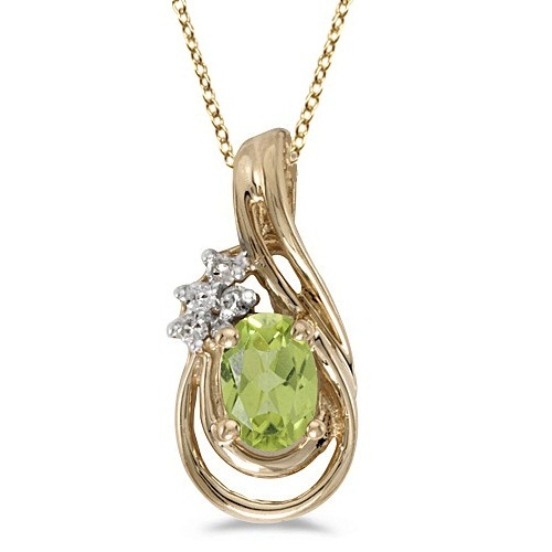 Oval Peridot & Diamond Teardrop Pendant Necklace 14k Yellow Gold