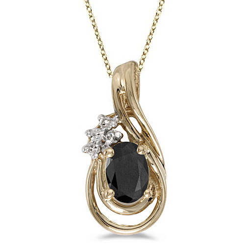 Black Onyx & Diamond Teardrop Pendant Necklace 14k Yellow Gold (0.59ct)