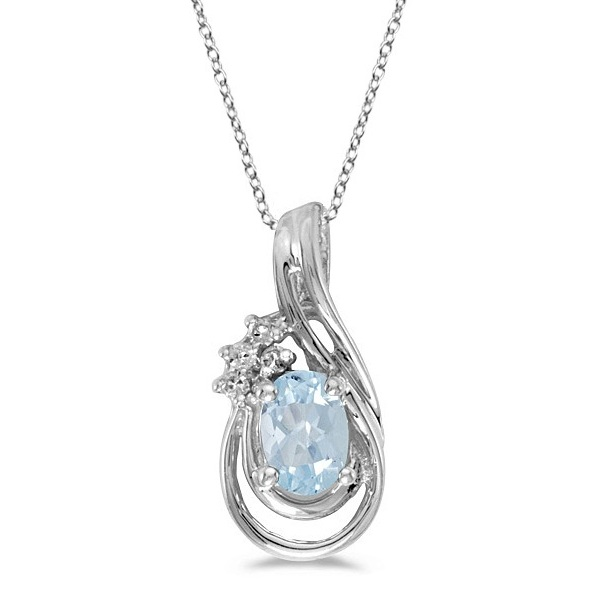 Oval Aquamarine & Diamond Teardrop Pendant Necklace 14k White Gold