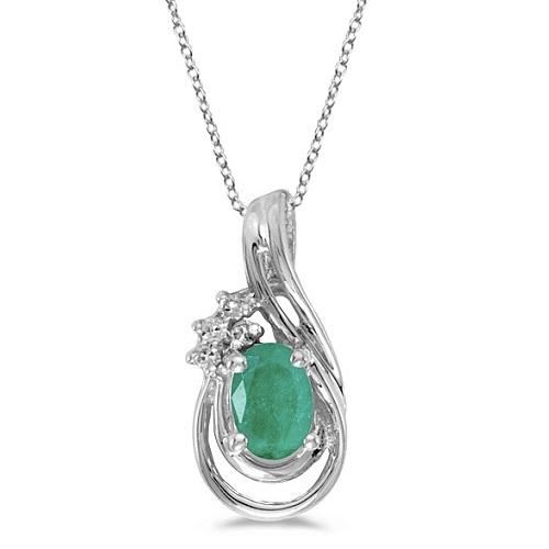 Oval Emerald & Diamond Teardrop Pendant Necklace 14k White Gold