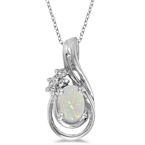 Oval Opal & Diamond Teardrop Pendant Necklace 14k White Gold