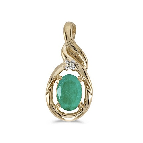 Oval Emerald & Diamond Pendant Necklace 14k Yellow Gold (0.45ctw)