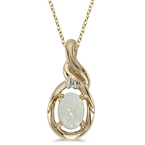 Oval Opal & Diamond Pendant Necklace 14k Yellow Gold (0.55ctw)