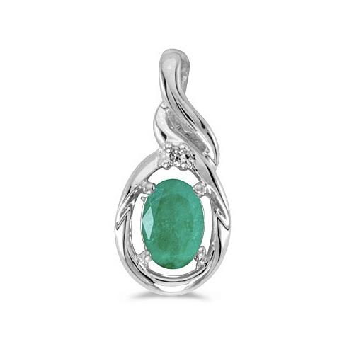Oval Emerald & Diamond Pendant Necklace 14k White Gold (0.45ct)