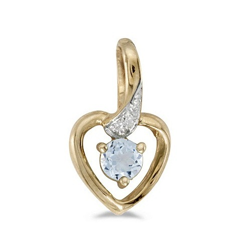Aquamarine and Diamond Heart Pendant Necklace 14k Yellow Gold