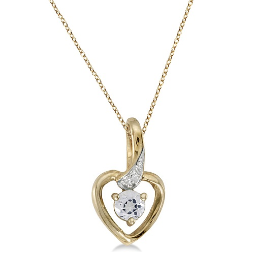 White Topaz & Diamond Accented Heart Pendant Necklace 14k Yellow Gold