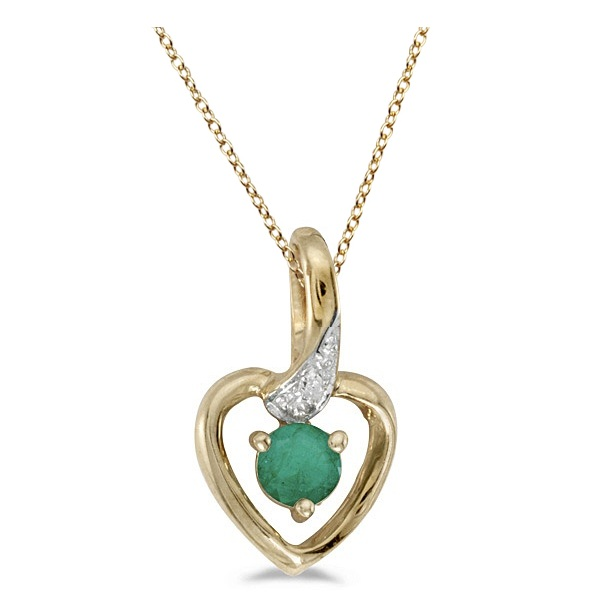 Emerald and Diamond Heart Pendant Necklace 14k Yellow Gold