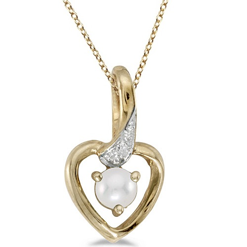 Pearl and Diamond Heart Pendant Necklace 14k Yellow Gold