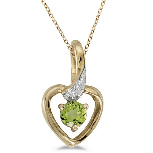 Peridot and Diamond Heart Pendant Necklace 14k Yellow Gold