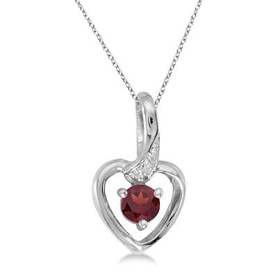 Garnet and Diamond Heart Pendant Necklace 14k White Gold
