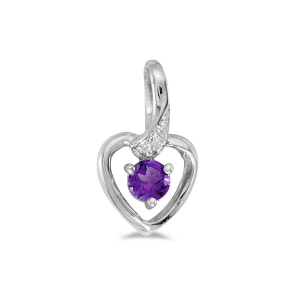 Amethyst and Diamond Heart Pendant Necklace 14k White Gold