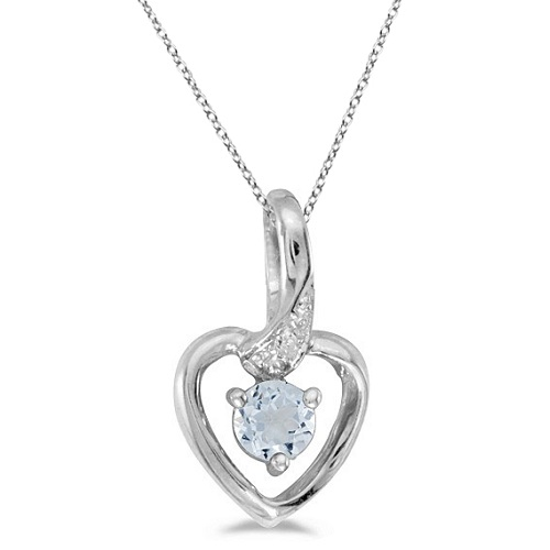 Aquamarine and Diamond Heart Pendant Necklace 14k White Gold