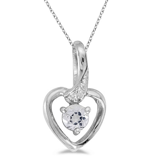 White Topaz and Diamond Accented Heart Pendant Necklace 14k White Gold