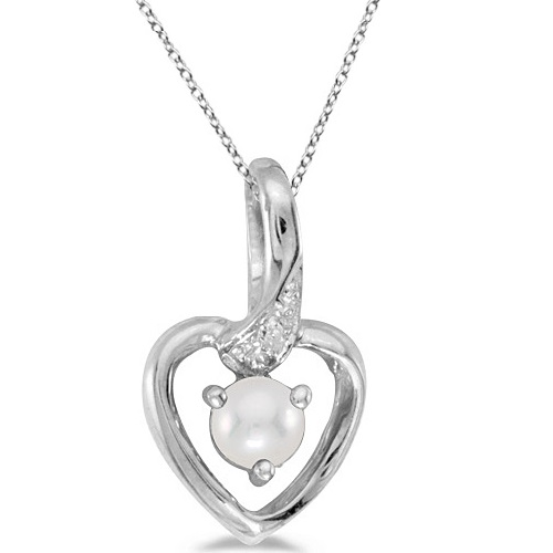 Pearl and Diamond Heart Pendant Necklace 14k White Gold